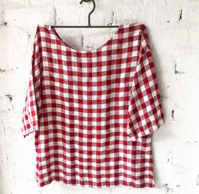Jane Linen Red & White Gingham Top