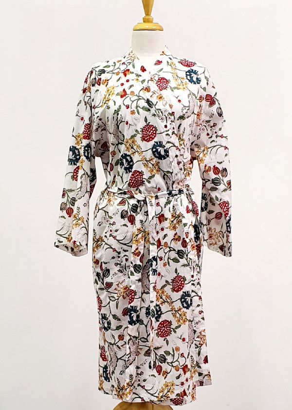 Hand Block Printed Dressing Gown - White Floral