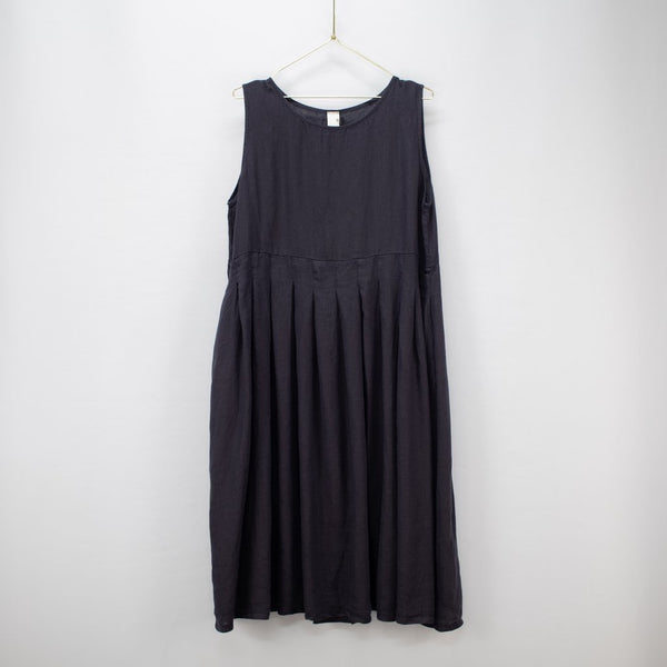 Box Pleated Linen Dress - French Navy