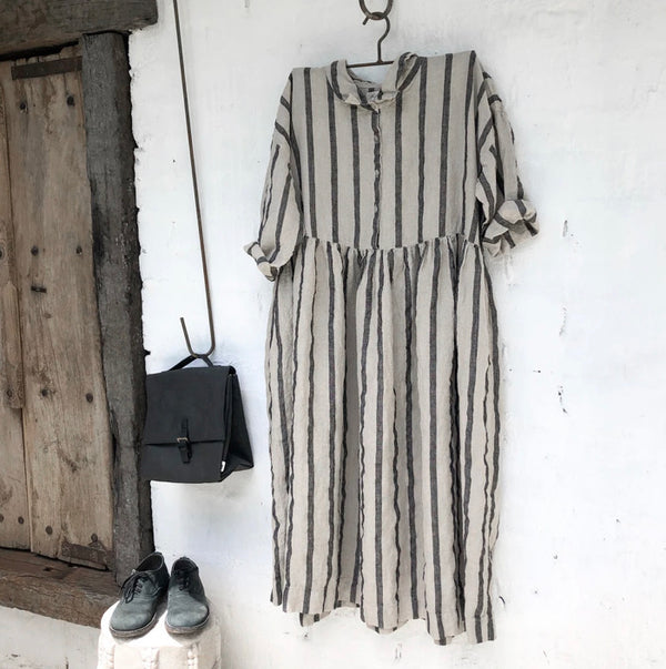 Edith Black and Natural Stripe Linen Dress