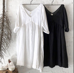 Molly Linen Dress - White and Black