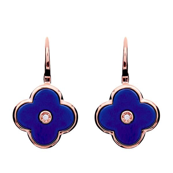 Flower Lappis Blue and Rose Gold Earring