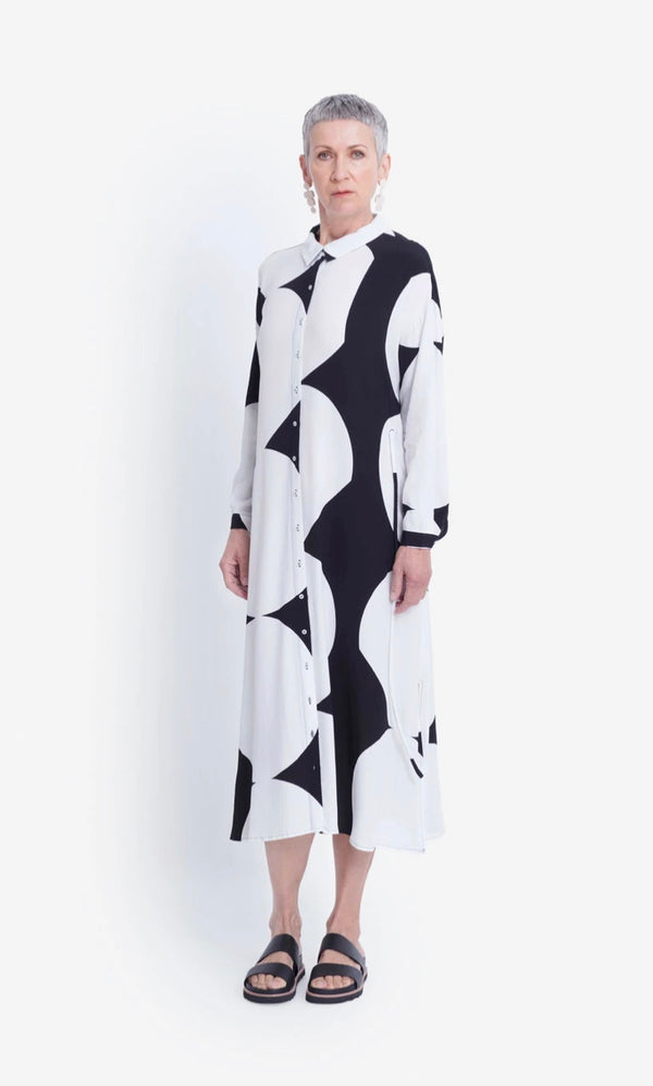 Kalla Shirt Dress - Black/White