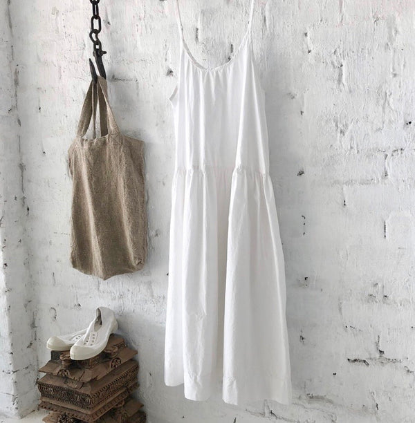 Cotton Poplin Slip Dress - White