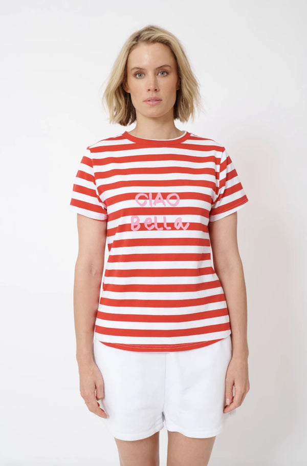 Ciao Bella Stripe Tee - Red