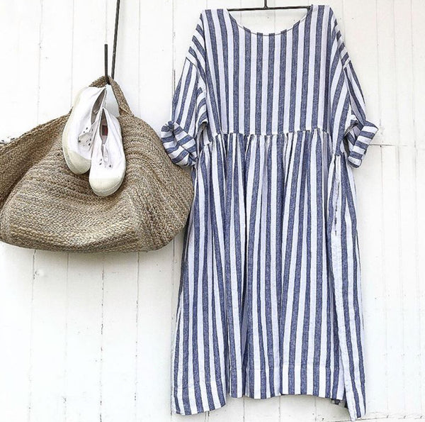 Sarah Linen Dress - Blue and White Stripe