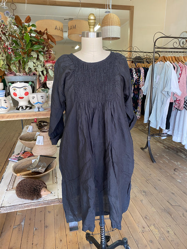 Annabelle Linen Dress - Ink