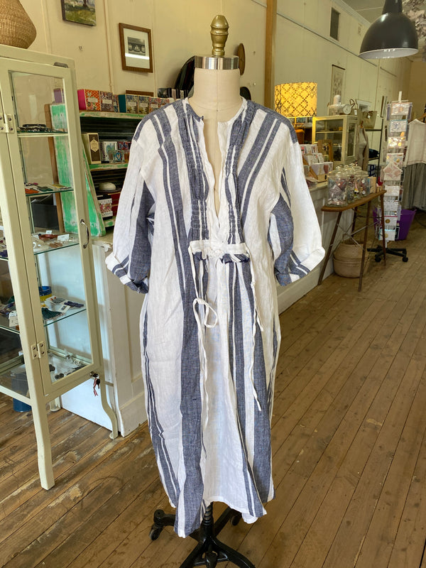 Bronte Linen Dress - Blue & White Stripes - one off