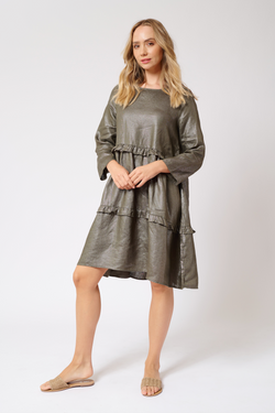 Toffee Dress in Lurex Linen - Kahki