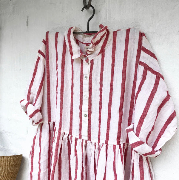 Edith Red and White Stripe Linen Dress