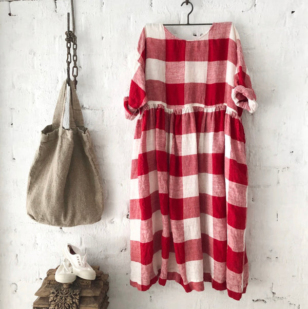 Sarah Linen Dress - Red and White Square