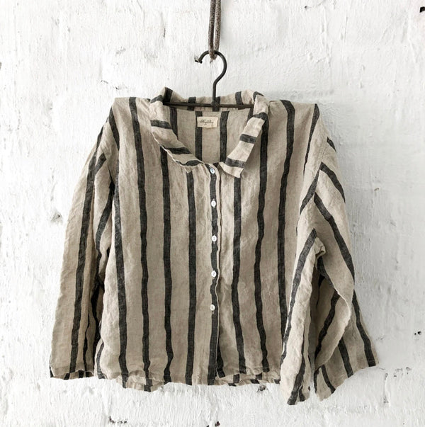 Avery Linen Shirt - Natural and Black Stripe