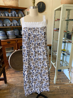 Hand Block Printed Lace Nightie - Navy/Beige Flower Print