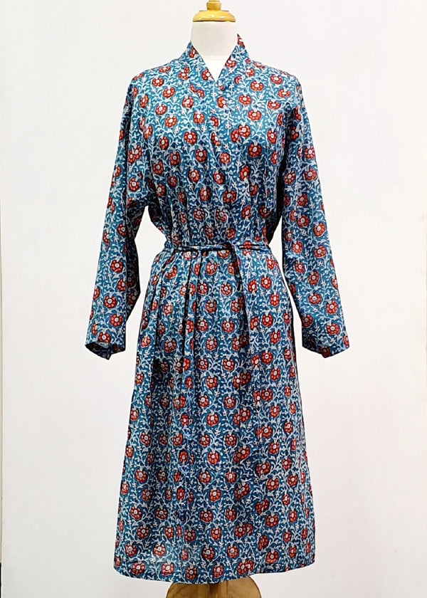 Hand Block Printed Dressing Gown - Blue Floral