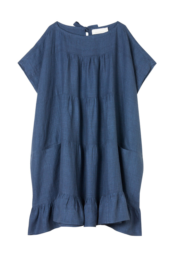 Infinity Dress - Indigo Washed Linen