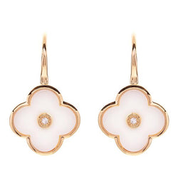 Flower White Enamel and Yellow Gold Earring