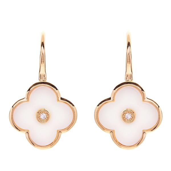 Flower White Ceramic and Yellow Gold Earring