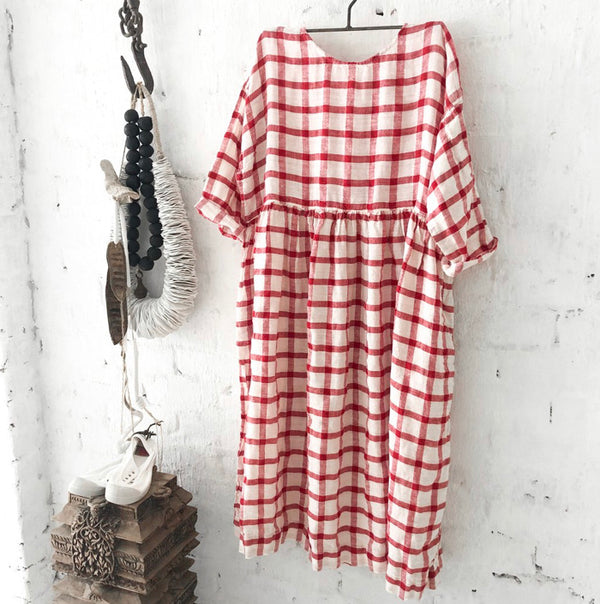 Sarah Linen Dress - Red and White Grid