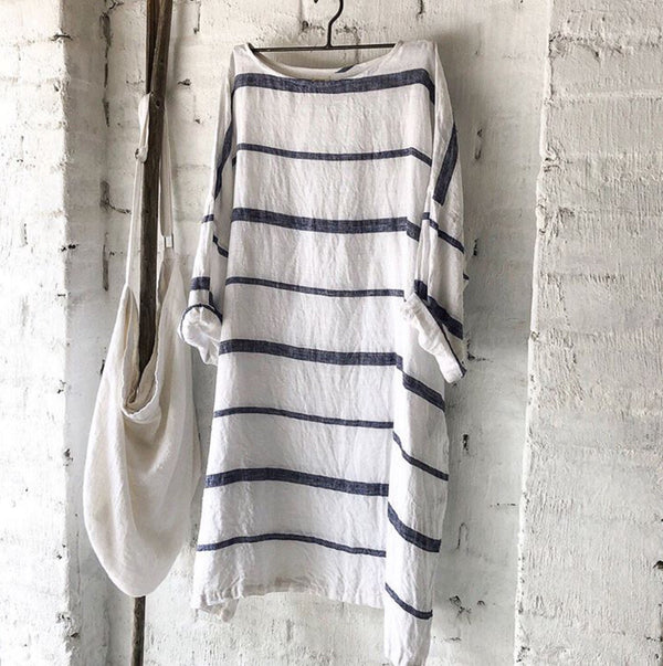 Newport Linen Dress - Nautical Stripe