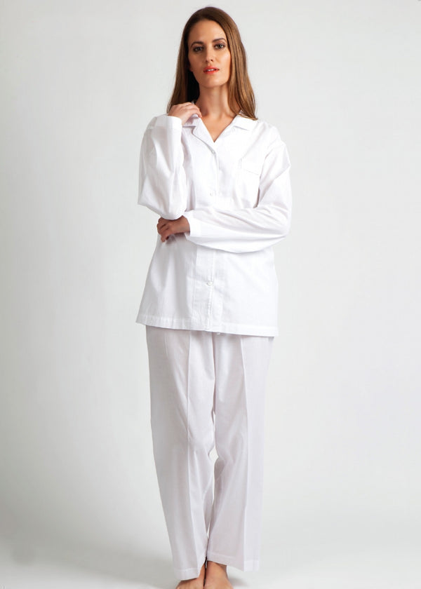 Plain White Cotton Pyjamas