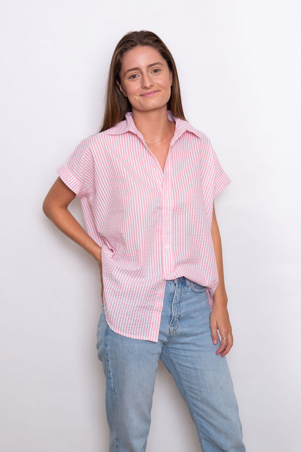 Jane Seersucker Shirt - Baby Pink/White