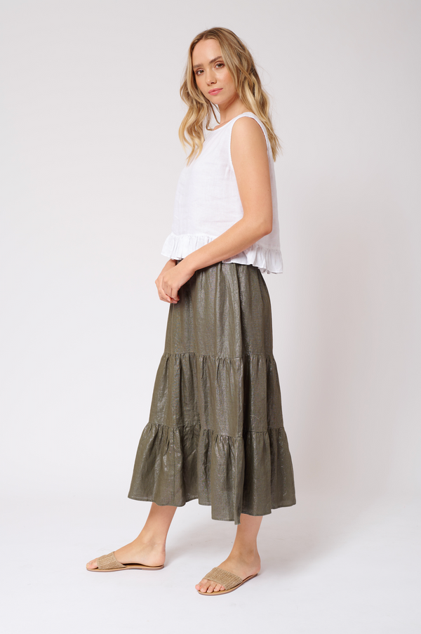 Delilah Skirt in Lurex Linen - Kahki