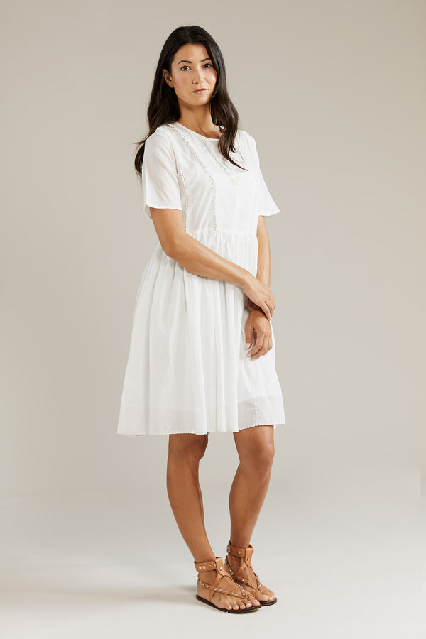 Into the Frey Embroidered Dress - White