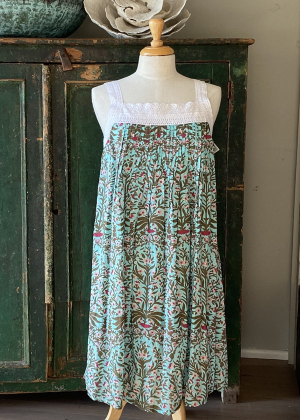 Hand Block Printed Lace Nightie - Turquoise Floral Print