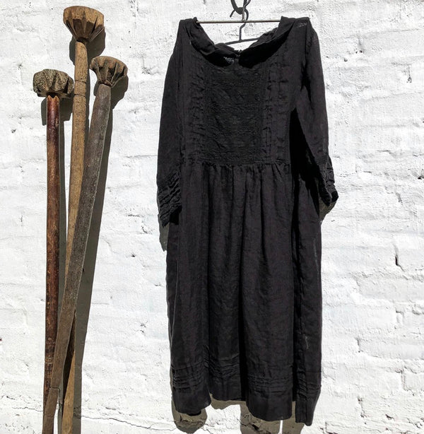 Alice Linen Dress - Black