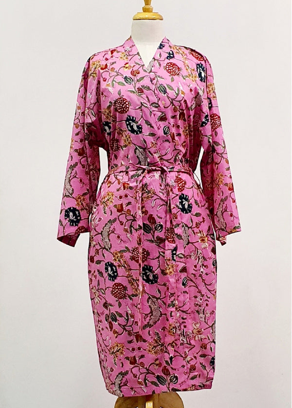 Hand Block Printed Dressing Gown - Pink Floral
