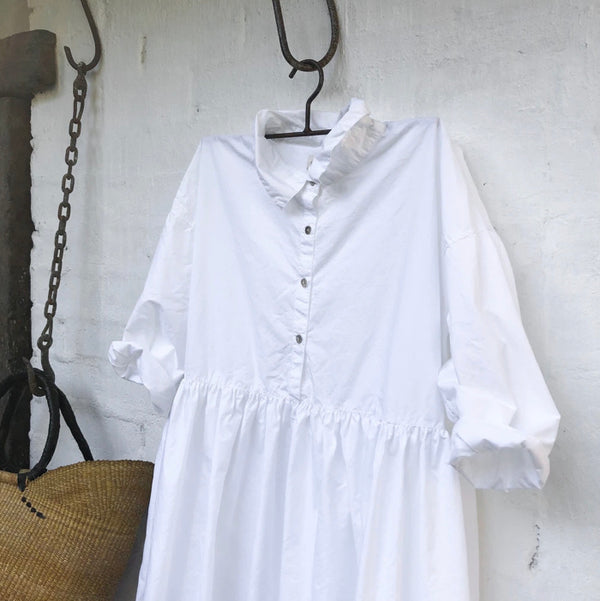 Edith Cotton Poplin Dress - White