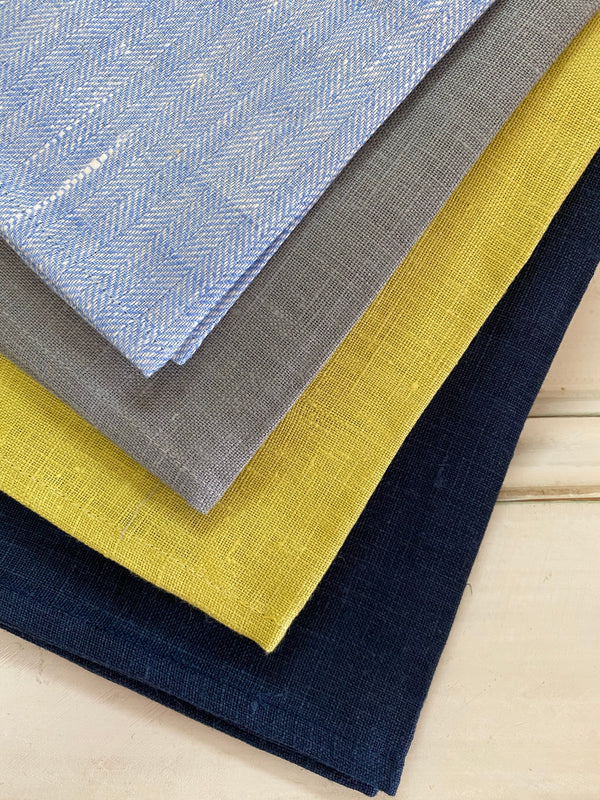 Lesueur Linen Tea Towel - Herringbone Persian Blue
