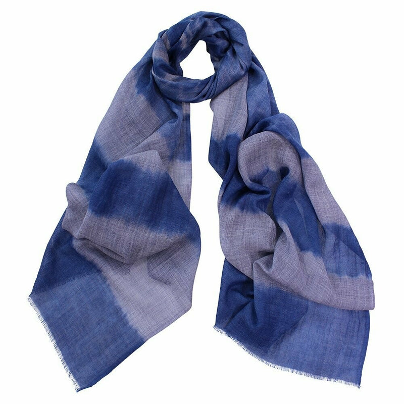 Corbet Dipped Wool Silk Scarf - Denim