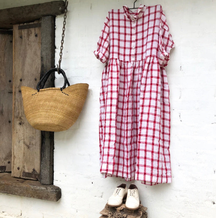 Edith Red and White Grid Linen Dress