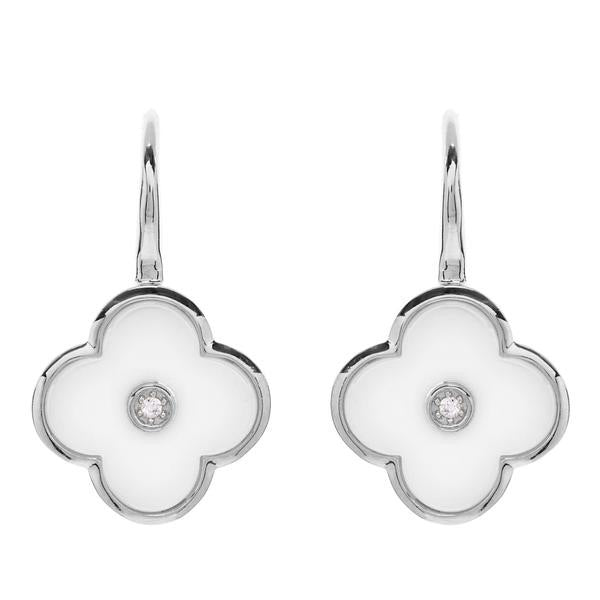 Flower White Enamel and Silver Earring