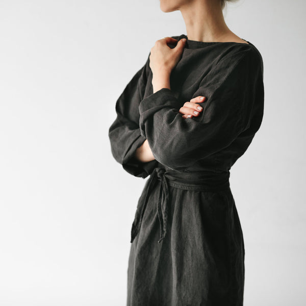 Belted Dress - Dark Grey