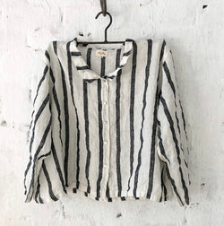 Avery Linen Shirt - White and Black Stripe
