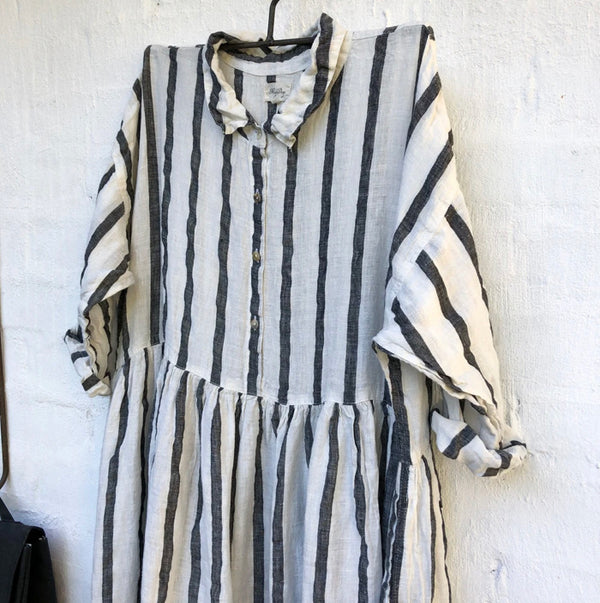Edith Black and White Stripe Linen Dress