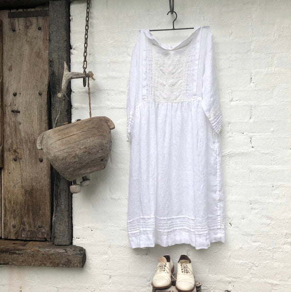 Alice Linen Dress - White