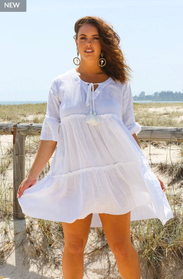 Ingrid Tiered Dress in White