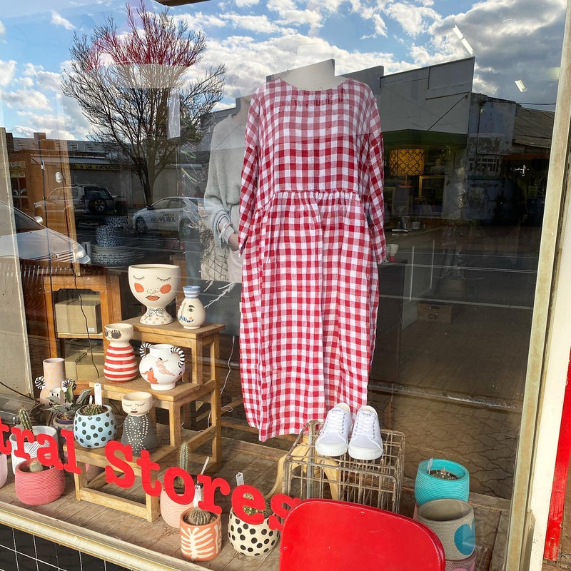 Sarah Linen Dress - Red and White Gingham