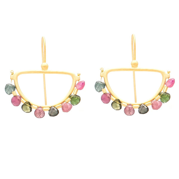 Faceted Multi Tourmaline gold plate semi circle earrings