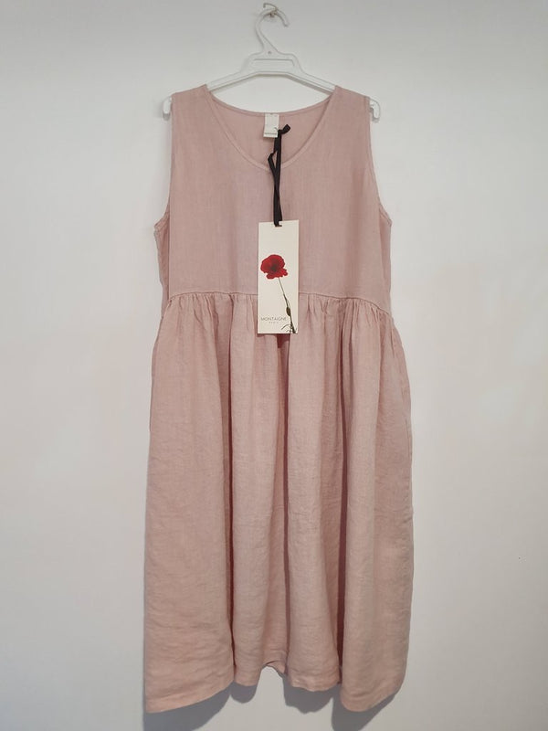 V Neck Linen Dress - Rose