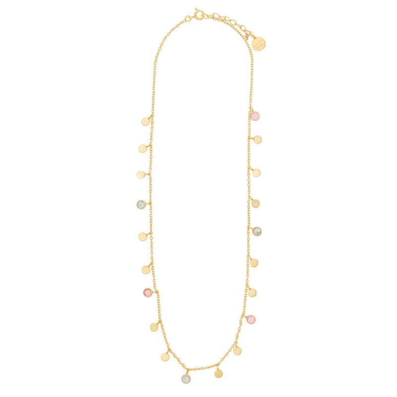 Labradorite & Pink Tourmaline gold disc necklace