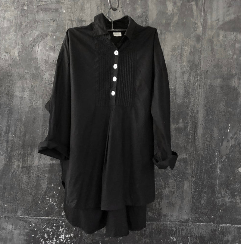 Tuxedo Shirt - Cotton Poplin Black
