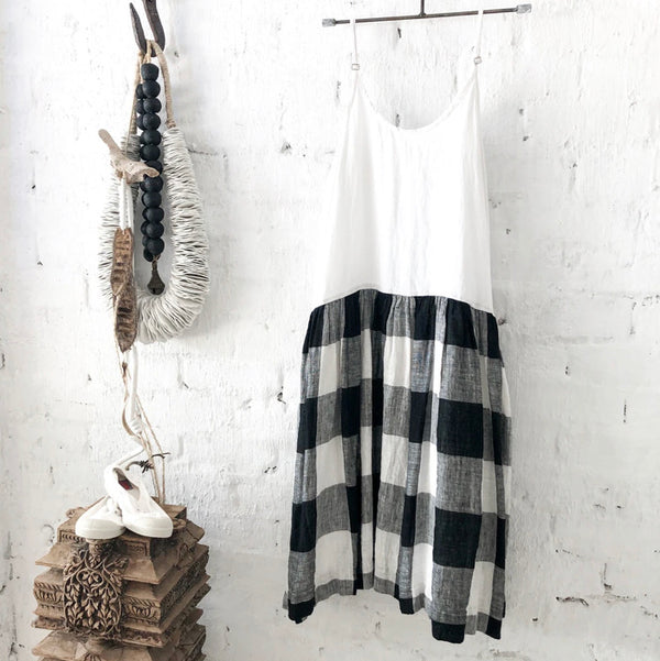 High Tea Slip Dress - Black & White Square