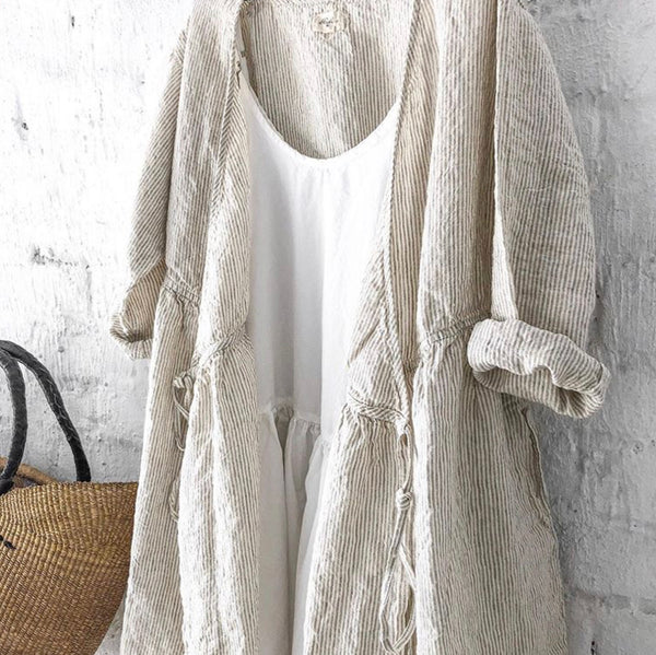 Greta Wrap Around Linen Coat Dress - Natural Stripes