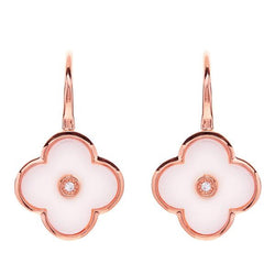 Flower White Enamel and Rose Gold Earring