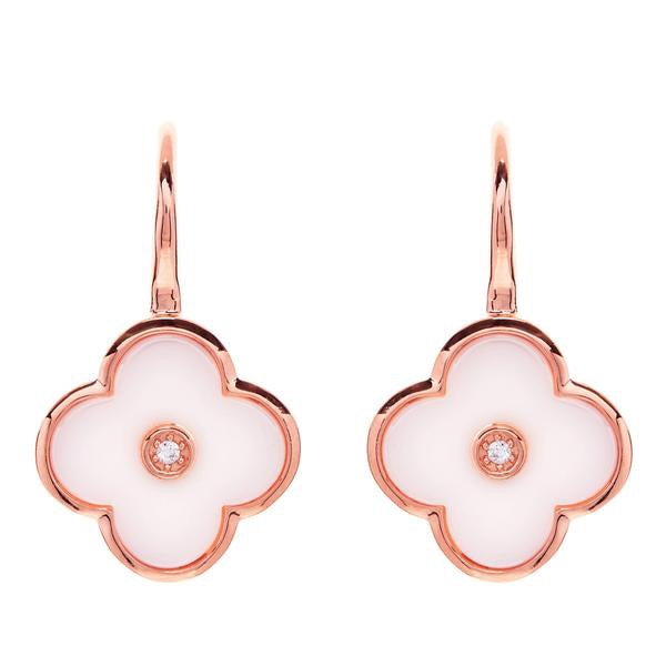 Flower White Ceramic and Rose Gold Earring
