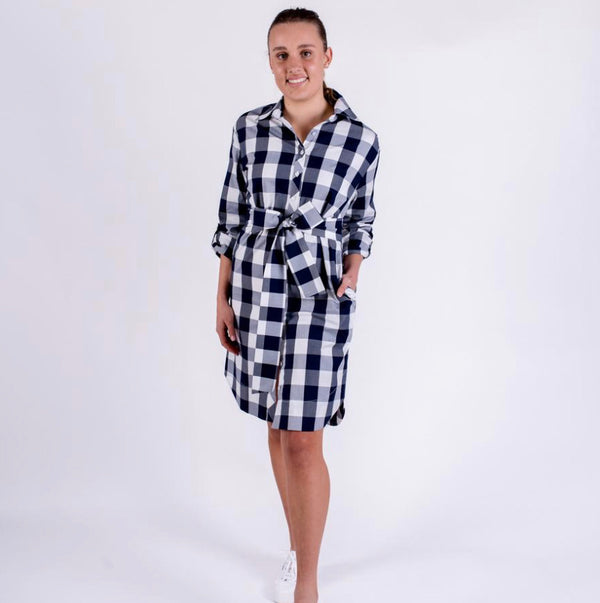 Audrey Dress - French Navy Check